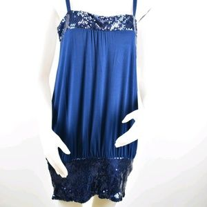 Vertigo Paris Womens Dress Sequin Spaghetti Strap